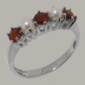 【送料無料】ネックレス ホワイトゴールドガーネットパールリングサイズ18ct 750 white gold natural garnet amp; pearl womens eternity ring sizes j to z