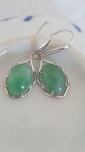 送料無料 ネックレス タイプシルバーイヤリングgenuine beautiful 1075ct 超激得SALE icy jadeite dangled silver jade a AL完売しました 925 earring type