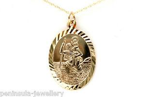 【送料無料】ネックレス ゴールドオーバルセントクリストファーペンダントチェーンボックス9ct gold oval st christopher pendant and 18 chain gift boxed hallmarked