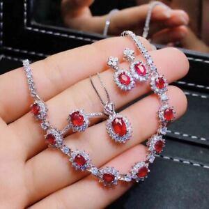 【送料無料】ネックレス ルビースターリングシルバーペンダントリングイヤリングブレスレット listingcertified natural ruby 925 silver sterling pendant ring earrings bracelet set