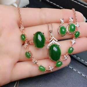【送料無料】ネックレス hetianジャスパー925スターリングペンダントイアリングセットnatural hetian jasper 925 sterling silver pendant earrings ring bracelet set