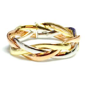 【送料無料】ネックレス 14kトリ14k tri color gold intertwined braided ring