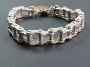 <title>送料無料 ネックレス ビンテージスターリングシルバーバイクチェーンリンクブレスレットheavy vintage sterling silver 贈物 bike chain link bracelet c1990</title>