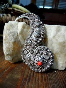 【送料無料】ネックレス ブローチビンテージイタリアシルバーexquisite brooch vintage italian 800 silver red coral figli di v franconeri