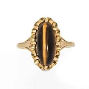 【送料無料】ネックレス ヴィンテージゴールドタイガーアイドレスリングvintage 9ct gold tigers eye dress ring