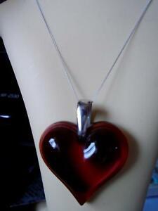 【送料無料】ネックレス ラリックレッドゴールドチェーンlalique stunning red large heart with 9ct gold chain boxed