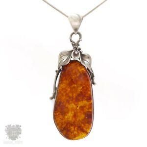 【送料無料】ネックレス ヴィンテージナチュラルバルトスターリングシルバーペンダントポーランドvintage natural baltic amber sterling silver pendant polish hallmarks large