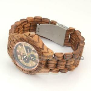 【送料無料】 腕時計 6ピンゼブラウッドモミジクオーツ multifunction sixpin zebrawood maple calendar week men quartz wooden watch