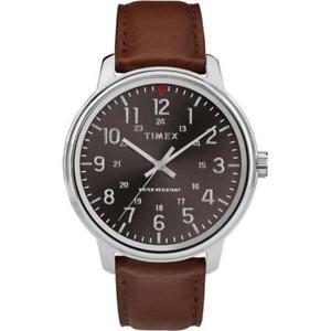 【送料無料】 腕時計 メーターtimex tw2r85700, mens basics brown leather watch, 43mm, 30 meter wr