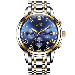 【送料無料】 腕時計 ligeビジネスクオーツスポーツlige men fashion business quartz military sport full steel waterproof watch