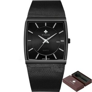 【送料無料】 腕時計 ステンレスメッシュビジネスクオーツmen watches waterproof square stainless steel mesh business quartz elegant watch
