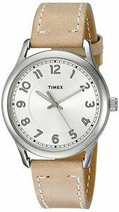 【送料無料】 腕時計 ヘリテージアナログベージュレザーウォッチストラップtimex tw2r23200 heritage womens silvertone analog watch beige leather strap