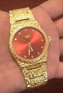 【送料無料】 腕時計 orignalmensヒップホップbrand with orignal box mens hiphop gold plated watch