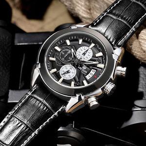 【送料無料】 腕時計 クオーツスポーツウォッチクロノグラフmen watch quartz genuine leather casual luxury military sport watch chronograph