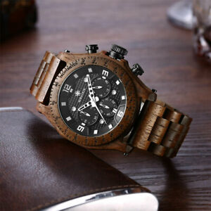 【送料無料】 腕時計 クロノグラフクオーツウォッチmens high quality chronograph waterproof wooden quartz date watch