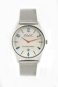 【送料無料】 腕時計 alvieroマルティーニalv0077ステンレスホワイトメッシュmensalvmens wristwatch alv by alviero martini alv0077 stainless steel white mesh