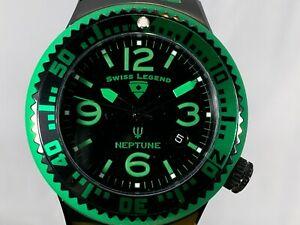 【送料無料】 腕時計 スイスネプチューンクォーツステンレススチールシリコンストラップウォッチswiss legend green 44mm neptune quartz stainless steel silicone strap watch