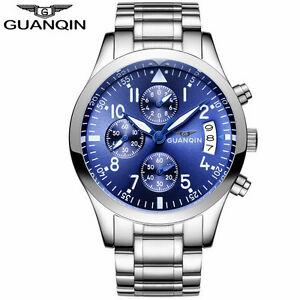 【送料無料】 腕時計 スポーツビジネスステンレスクォーツguanqin men sport luxury business stainless steel business quartz watch