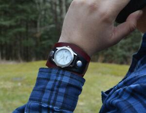 【送料無料】 腕時計 カフスツートンカラーmens leather cuff watch twotone