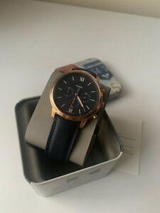 【送料無料】 腕時計 fossl mens neutra chronograph navy leather watchfossl mens neutra chronograph navy leather watch