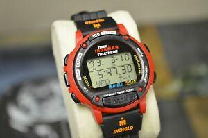 【送料無料】 腕時計 トライアスロンラップメモリービンテージnos timex ironman triathlon 100 lap memory indiglo 100m vintage 1993 rare red