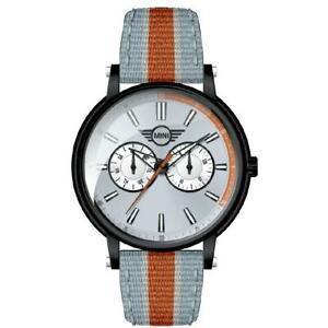 【送料無料】 腕時計 メンズミニミメートルレザーファブリックオレンジブラックスイス