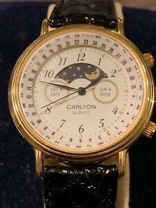 【送料無料】 腕時計 カールトンメンズクォーツムーンフェイズウォッチcarlton mens quartz moon phase watch 36mm