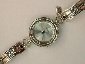 【送料無料】 腕時計 イスラエルスターリングシルバーガーネットブレスレットw00619gr shablool israel didae amazing sterling silver 925 garnet bracelet watch
