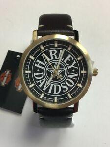 【送料無料】 腕時計 メンズロゴブラウンレザーストラップウォッチbulova mens harleydavidson fat boy logo brown leather strap watch 77a100