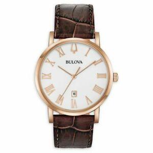 【送料無料】 腕時計 メンズアメリカンクリッパーローズゴールドトーンウォッチbulova 97b184 mens american clipper rose gold tone brown leather 40mm watch