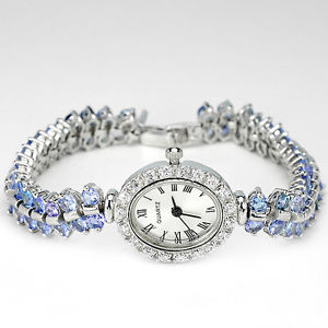 【送料無料】 腕時計 シルバータンザナイトsilver 925 genuine natural blue violet tanzanite gemstone two row watch 775 in