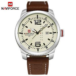 【送料無料】 腕時計 スポーツレザークォーツクリスマスluxury naviforce men military sports leather watches quartz xmas gifts for him