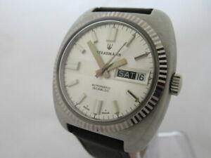 【送料無料】 腕時計 スイスアナログメンズウォッチnos swiss made automatic analog mens straumann watch with day and date 1960