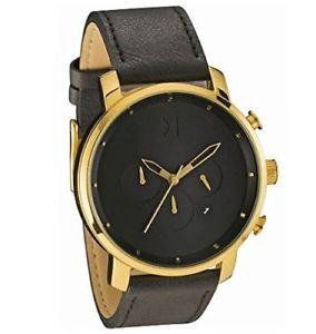 【送料無料】 腕時計 メンズウォッチクロノゴールドブラックレザー