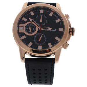 【送料無料】 腕時計 ローズゴールドブラックレザーストラップウォッチ