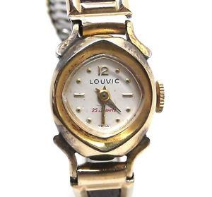 【送料無料】 腕時計 ビンテージスイスレディースkゴールドレザーウォッチrare vintage louvic swiss winding ladies 10k rgp gold toned leather watch 25j