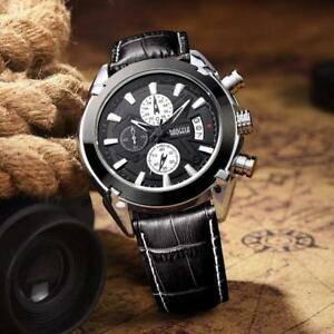 【送料無料】 腕時計 クロノグラフクオーツアナログブラックレザーウォッチ