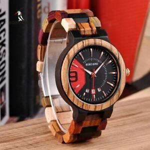 【送料無料】 腕時計 ボボbobo bird relogio masculino wooden watch men luxury date display wood quartz