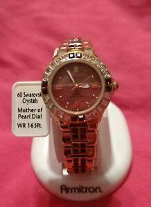 【送料無料】 腕時計 スワロフスキークリスタルアクセントローズウォッチwomens amethystcolored swarovski crystal accent rose goldtone watch armitron