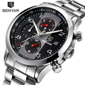 【送料無料】 腕時計 ファッションクロノグラフスポーツウォッチステンレススチールストラップブランドbenyar fashion chronograph sport watches men stainless steel strap brand quartz