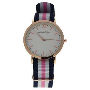 【送料無料】 腕時計 ローズゴールドネイビーピンクナイロンストラップウォッチandreas osten ao07 somand rose goldnavy bluewhitepink nylon strap watch