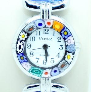 【送料無料】 腕時計 ミッレフィオーリヴェニスムラノガラスmurano glass quartz watch from venice with millefiori blue strap