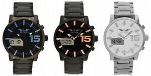 【送料無料】 腕時計 メンズデュアルタイムアナログアンプデジタルクラスプsoftech mens dual time analog amp; digital metal watch fold over clasp quartz