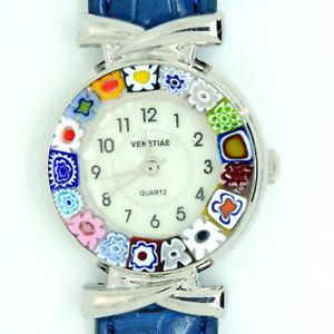 【送料無料】 腕時計 ストラップミッレフィオーリヴェニスムラノガラスmurano glass quartz watch from venice with millefiori blue and light blue strap