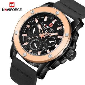 【送料無料】 腕時計 naviforceブランドスポーツnaviforce luxury brand quartz watches men waterproof sport leather wrist watch