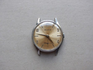 【送料無料】 腕時計 men`s swissヴィンテージbellevue21vintage bellevue 21 jewels mens swiss made wristwatch