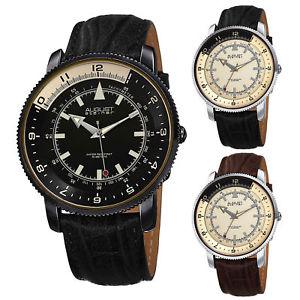【送料無料】 腕時計 シュタイナータキメーターコインエッジmens august steiner as8124 quartz tachymeter coin edged genuine leather watch