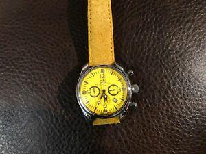 【送料無料】 腕時計 イタリアベロシルバークロノグラフイエロースエードストラップitalian bello amp; preciso 40 mm silver chronograph yellow suede strapunique desig