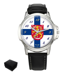 【送料無料】 腕時計 フィンランドメンズフラグコートウォッチfinland suomi flag coat of arms gents mens wrist watch gift engraving