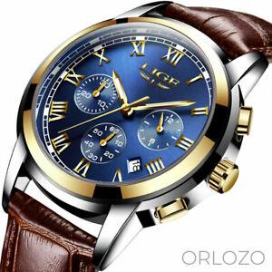 【送料無料】 腕時計 ligelige luxury genuine leather wrist watch for men with free shipping